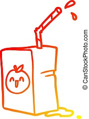 warm gradient line drawing apple juice box