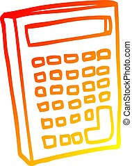 warm gradient line drawing cartoon calculator - warm...