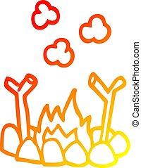 warm gradient line drawing cartoon camp fire