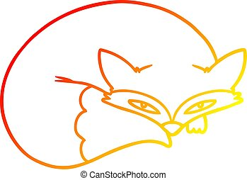 warm gradient line drawing cartoon curled up fox - warm...
