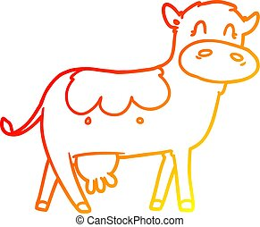warm gradient line drawing cartoon dairy cow