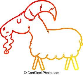 warm gradient line drawing cartoon goat
