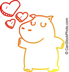 warm gradient line drawing cartoon hippo in love