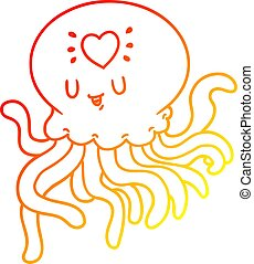 warm gradient line drawing cartoon jellyfish in love