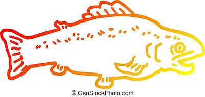 warm gradient line drawing cartoon large fish