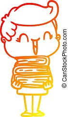 warm gradient line drawing cartoon laughing boy carrying books