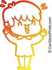 warm gradient line drawing cartoon laughing boy
