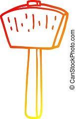 warm gradient line drawing cartoon mallet - warm gradient...