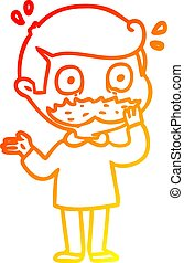 warm gradient line drawing cartoon man with mustache shocked...