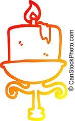 warm gradient line drawing cartoon old candlestick - warm...