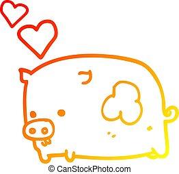 warm gradient line drawing cartoon pig in love