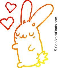 warm gradient line drawing cartoon rabbit in love