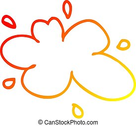 warm gradient line drawing cartoon red splat of paint