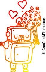 warm gradient line drawing cartoon robot in love