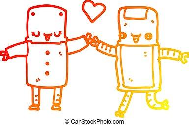 warm gradient line drawing cartoon robots in love