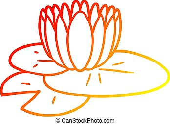 warm gradient line drawing cartoon water lily