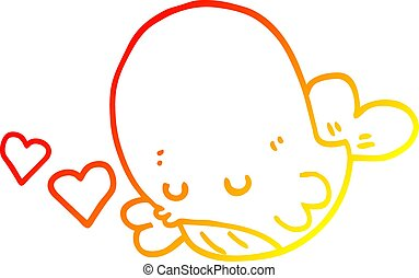 warm gradient line drawing cartoon whale in love