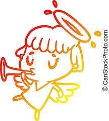 warm gradient line drawing cute angel