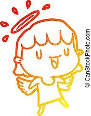 warm gradient line drawing cute angel