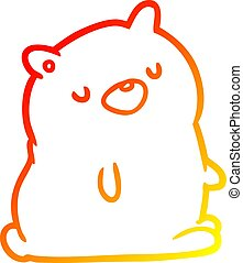 warm gradient line drawing cute bear