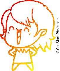 warm gradient line drawing cute cartoon happy vampire girl