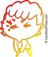 warm gradient line drawing cute cartoon rude girl