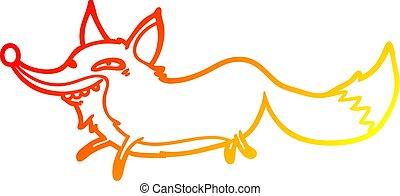 warm gradient line drawing cute cartoon sly fox