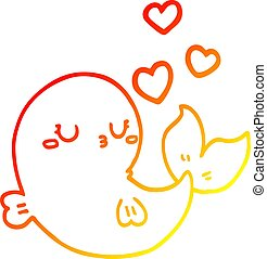 warm gradient line drawing cute cartoon whale in love