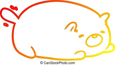 warm gradient line drawing cute cat
