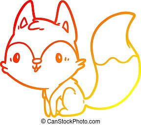 warm gradient line drawing cute fox
