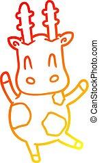 warm gradient line drawing cute giraffe