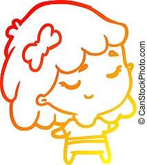 warm gradient line drawing cute happy girl