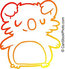 warm gradient line drawing cute koala