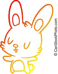 warm gradient line drawing cute rabbit