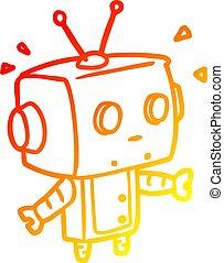 warm gradient line drawing cute surprised robot