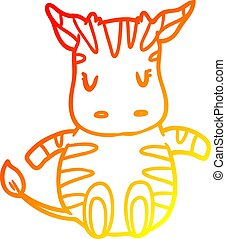 warm gradient line drawing cute zebra