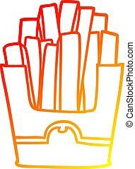 warm gradient line drawing junk food fries - warm gradient...