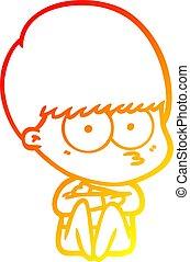 warm gradient line drawing nervous cartoon boy