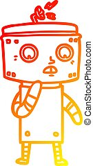 warm gradient line drawing uncertain cartoon robot - warm...