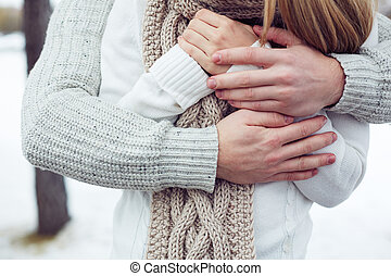 Warm - Hands of couple warming each other