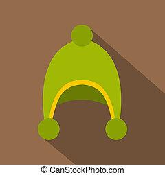 Warm hat icon, flat style