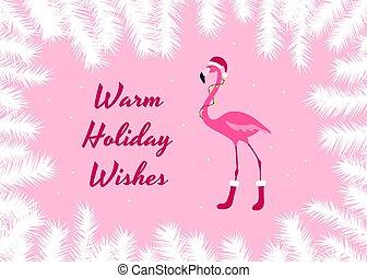 Warm holiday wishes christmas card. Pink Flamingo