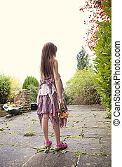 Warm image of young girl outside. - Young Caucasian girl,...