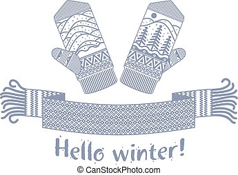 knitted winter scarf and mitten