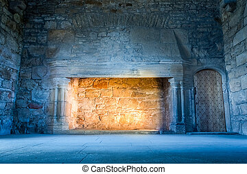 Warm light in a cold medieval castle