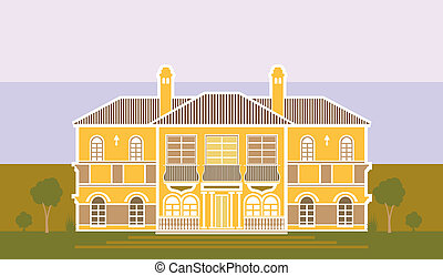 Warm mansion - warm mansion illustration vector artwork