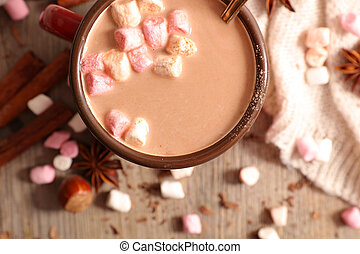 warm milk with cocoa and marshmallow