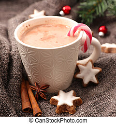 warm milk with cocoa for winter