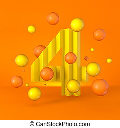 Warm minimal yellow sparkling font Number 4 FOUR 3D