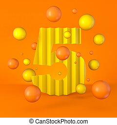 Warm minimal yellow sparkling font Number 5 FIVE 3D
